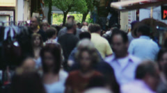 Tourists Walking through Narrow Shopping Street in Slow Motion - 29,97FPS NTSC Stock Footage