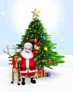 Santa claus with golden jingle bell - stock illustration
