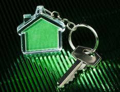 Keychain and key - stock photo