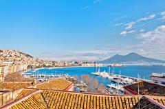 Naples bay view from Mergellina - Italy Stock Photos
