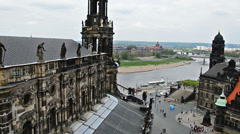 View over old town of Dresden to river Elbe Stock Footage
