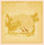 background with african fauna and flora - stock illustration