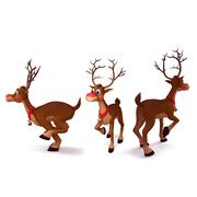 Reindeer rudolph in three different poses Stock Illustration