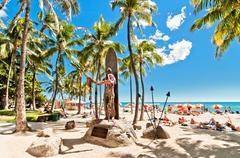Waikiki beach in Honolulu, Hawaii Stock Photos