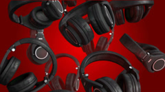 3D Rotating head phones on red back grounds, 4k Stock Footage