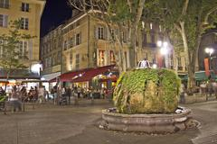 Night view of Aix-en-Provence, south of France - stock photo