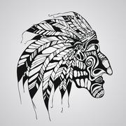 Stock Illustration of vector tattoo, native american indian chief