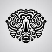 vector tiger face tattoo sketch - stock illustration