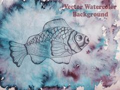 vector hand drawn fish on watercolor background - stock illustration