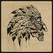 Vector tattoo, native american indian chief Stock Illustration