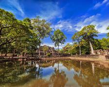 Panorama view of baphuon temple ruins at angkor wat complex, siem reap, cambodia Stock Photos