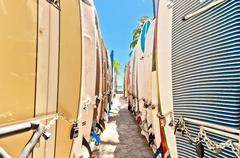 Surfboards at Waikiki Beach, Hawaii - stock photo