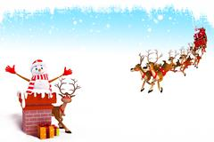 Snowman inside the chimney with reindeer rudolph - stock illustration
