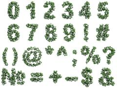 Stone digits covered with ivy, on white background - stock illustration