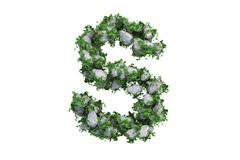 Stone letter S covered with ivy, isolated - stock illustration
