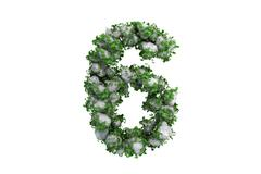 Stone symbol 6 covered with ivy, isolated - stock illustration