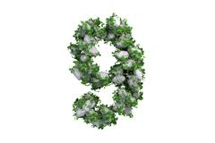 Stone symbol 9 covered with ivy, isolated - stock illustration