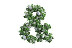 Stone symbol covered with ivy, isolated - stock illustration