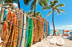Stock Photo of Surfboards at Waikiki Beach, Hawaii