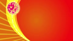 Orange Radial ray background with disco ball, loop HD Stock Footage