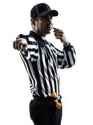 American footbal referee whistle whistling silhouettes Stock Photos