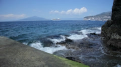 Cruise Ship Holiday in Bay of Naples Campania Italy - 25FPS PAL Stock Footage