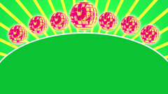 Green Radial ray background with title plate and disco balls, loop HD Stock Footage