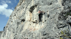 Romanian climber Imre Sedevi climbs dificult route Stock Footage