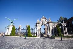 old historical iron gate of buda castle in budapest - stock photo