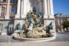 Matthias fountain in the buda castle royal palace Stock Photos