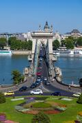szechenyi chain bridge, budapest, hungary - stock photo