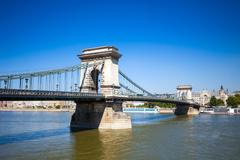 chain bridge over danube river, budapest cityscape - stock photo