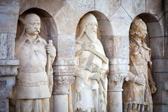 Noble knights statues at buda castle Stock Photos