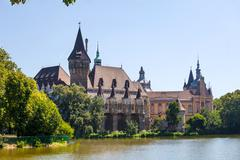 vajdahunyad castle view, budapest - stock photo