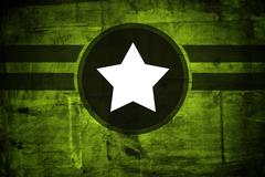 military army star over grunge background - stock illustration