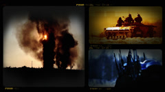 4K Collage of Military Invasion Footages Stock Footage