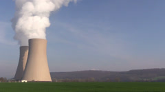 Nuclear station against the  blue sky Stock Footage