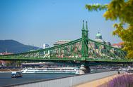 Stock Photo of view of liberty bridge over danube and  buda castle, budapest