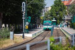 green suburb train waiting on a staition in budapest - stock photo