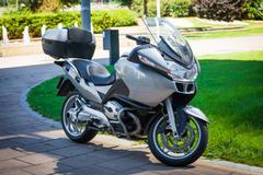 Modern motorbike parked Stock Photos