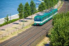 green suburb train in budapest - stock photo