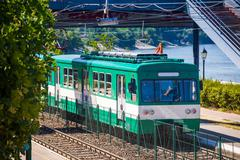 Green suburb train in budapest Stock Photos