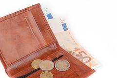 Stock Photo of Brown wallet with EU money