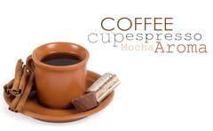 Closeup shot of freshly prepared cup of italian espresso with ci - stock illustration
