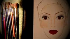 Tutorial makeup, facechart Stock Footage