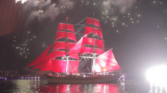 Ship with scarlet sails, accompanied by fireworks in St. Petersburg. Stock Footage