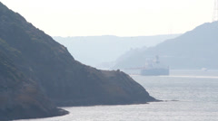 Oil tanker passing from Bosphorus channel of Istanbul. Stock Footage