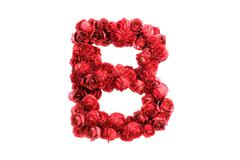 Red roses letter B, isolated on white background - stock illustration