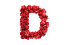 Stock Illustration of Red roses letter D, isolated on white background
