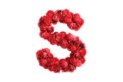 Stock Illustration of Red roses letter S, isolated on white background